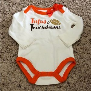 Tutus & Touchdowns Long-sleeved onesie. 6mo. NWOT.